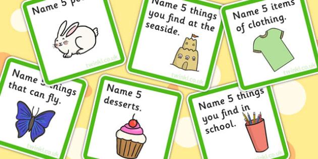 Name 5 Things Categories Card Game - sort, match, SEN, games