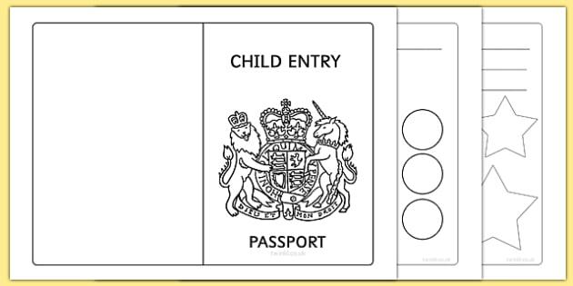 EYFS Child Entry Passport - early years, passport, transport