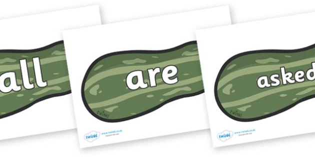 Tricky Words on Marrows - Tricky words, DfES Letters and Sounds, Letters and sounds, display, words