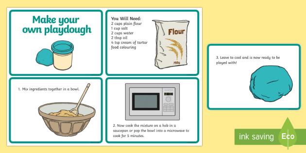 Playdough Quick Recipe Cards - education, home school, free, fun