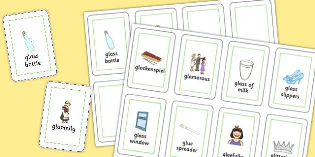 Three Syllable GL Playing Cards - sen, sound, gl sound, gl,  three syllable, playing cards
