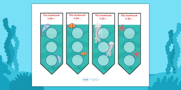 Under The Sea Sticker Reward Bookmarks (30mm) -  Under the sea, sea, seaside, water, tide, fish, sea creatures, shark, whale, marine, dolphin, starfish, waves, sand