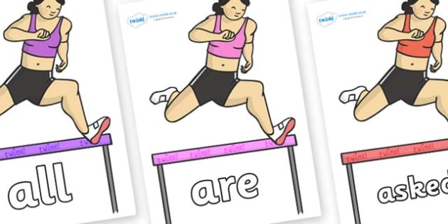 Tricky Words on Olympic Hurdles - Tricky words, DfES Letters and Sounds, Letters and sounds, display, words