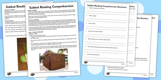 Sukkot Reading Comprehension Activity - sukkot, reading, comprehension
