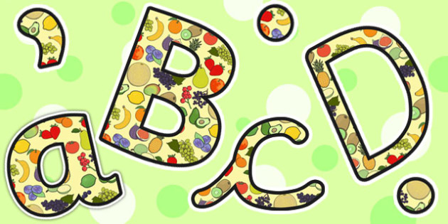 Fruit Themed Size Editable Display Lettering - fruit, display