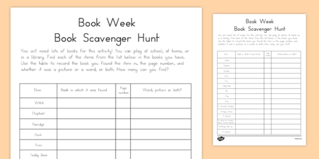 Book Week Scavenger Hunt-Australia
