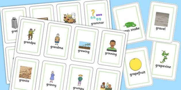 Two Syllable GR Flash Cards - sen, sound, gr sound, gr, two syllable, flash cards