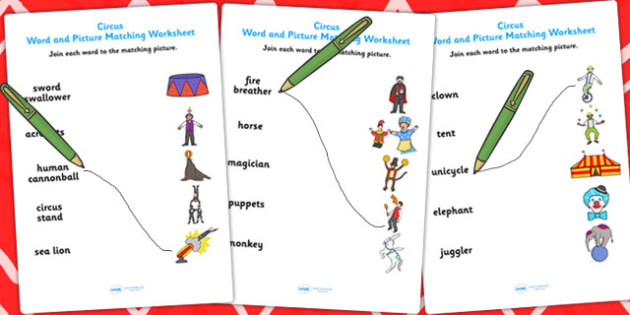 Circus Word and Picture Matching Worksheet - match, sort, circus