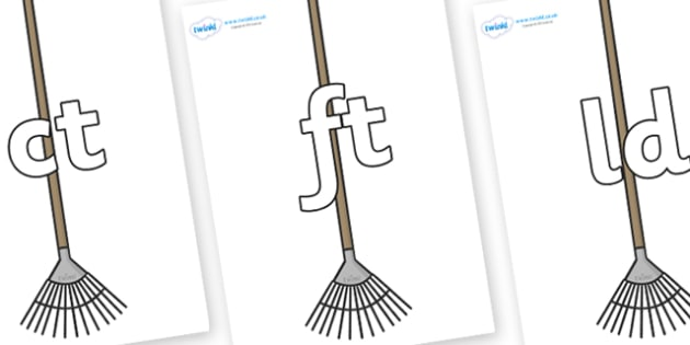 Final Letter Blends on Garden Rakes - Final Letters, final letter, letter blend, letter blends, consonant, consonants, digraph, trigraph, literacy, alphabet, letters, foundation stage literacy