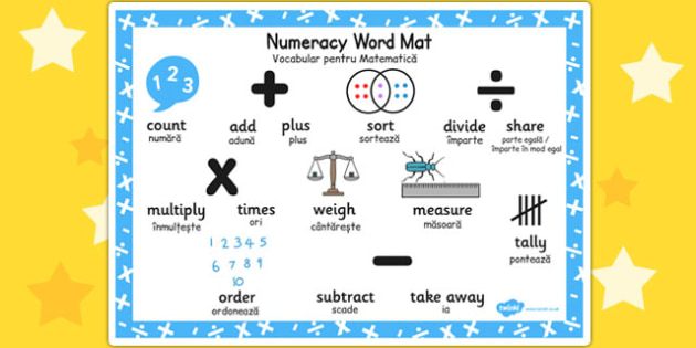 Numeracy Instructions Word Mat Romanian Translation - romanian