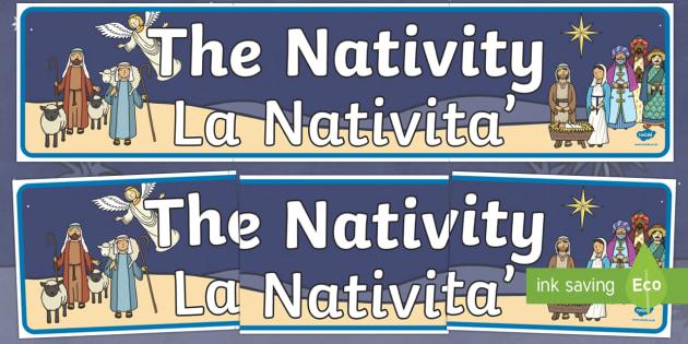 Nativity Display Banner Italian Translation English/Italian - Nativity Display Banner - Christmas, xmas, Happy Christmas, banner, display, sign, poster, tree, adv