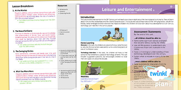 PlanIt - History UKS2 - Leisure and Entertainment Planning Overview