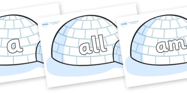 Foundation Stage 2 Keywords on Igloos - FS2, CLL, keywords, Communication language and literacy,  Display, Key words, high frequency words, foundation stage literacy, DfES Letters and Sounds, Letters and Sounds, spelling