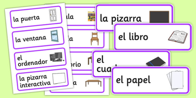 Spanish Classroom Word Cards - MFL, Spanish, Modern Foreign Languages, basic phrases in Spanish, foundation, languages, cards, wordcards, flashcards
