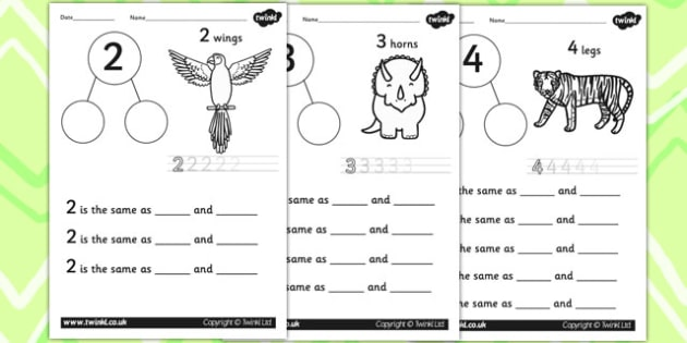 Number Bond Worksheets to 10 - number bonds, maths, numeracy