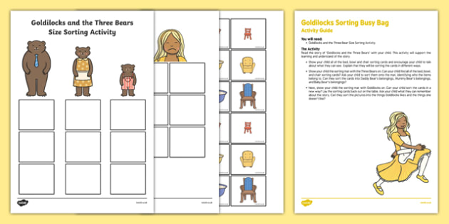 Goldilocks Sorting Activity Busy Bag Resource Pack for Parents