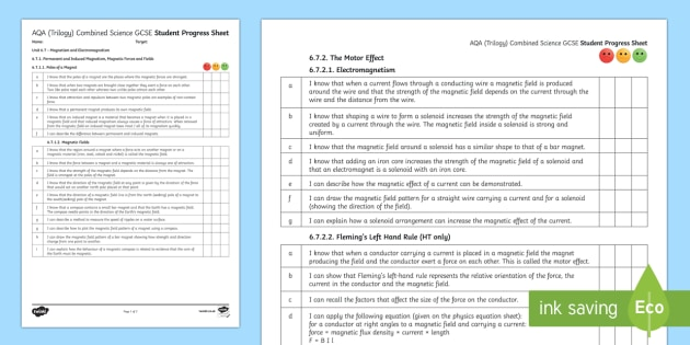 AQA (Trilogy) Unit 6.7 Magnetism and Electromagnetism Student Progress Sheet - Student Progress Sheets, AQA, RAG sheet, Unit 6.7 Magnetism and Electromagnetism.