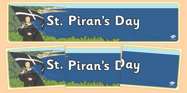 St. Piran's Day Display Banner - celebration, festival, Cornwall, UK, saint Piran, saint, special