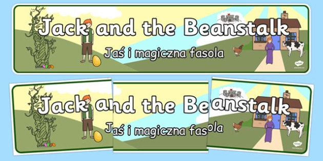 Jack and the Beanstalk Display Banner Polish Translation - traditional tale, classroom, fairytale,  literacy, story, telling, header