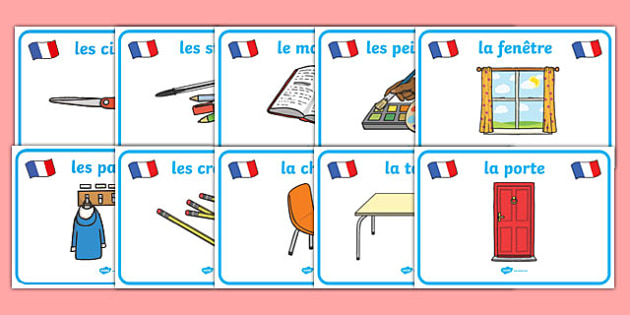Classroom Objects Display Posters (French) - Classroom resources, resource Labels, French, Label template, Editable Labels, Drawer Labels, KS1 Labels, Foundation Labels, Foundation Stage Labels, Teaching Labels, Resource Labels, Tray Labels, Printabl