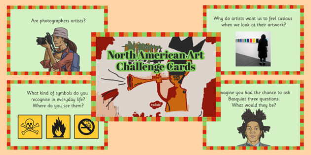 North American Art Challenge Cards - north american art, north america, challenge cards