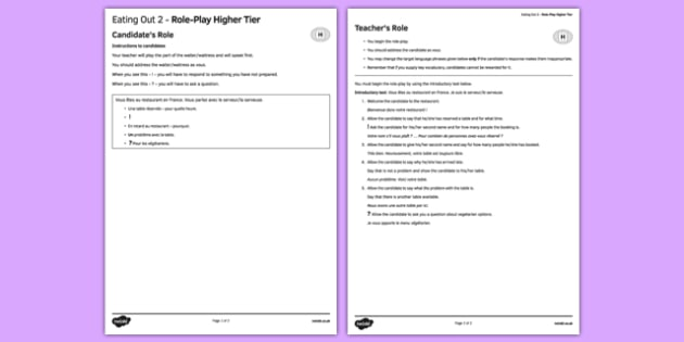 Manger au restaurant 2 Jeu de rôle Higher Tier - Eating out, restaurant, manger, food, role play, higher, speaking