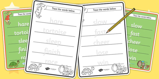 The Tortoise and The Hare Trace the Words Worksheets - tracing