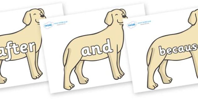 Connectives on Dogs - Connectives, VCOP, connective resources, connectives display words, connective displays