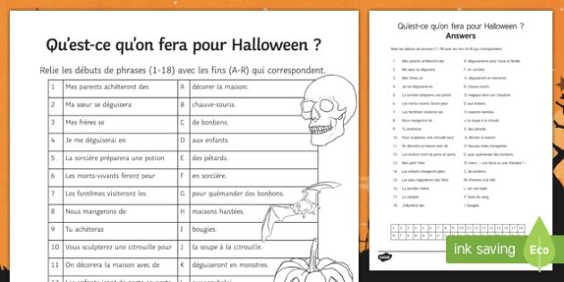 Halloween Simple Future Tense Match Up Activity Sheet, worksheet