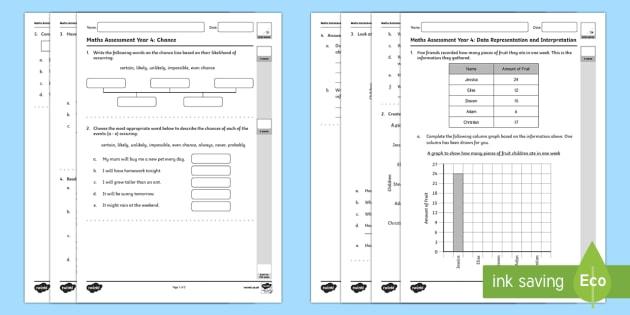Year Four Statistics and Probability Assessment Pack -  Mathematics Assessments, statistics, probability, maths, australia