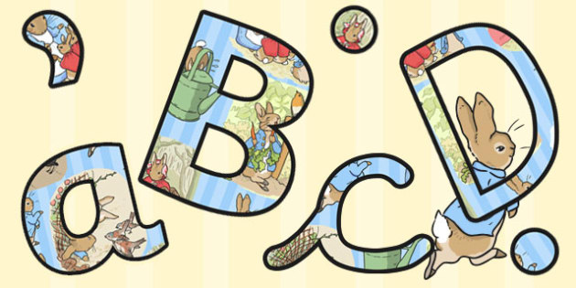 The Tale of Peter Rabbit Themed Size Editable Display Lettering