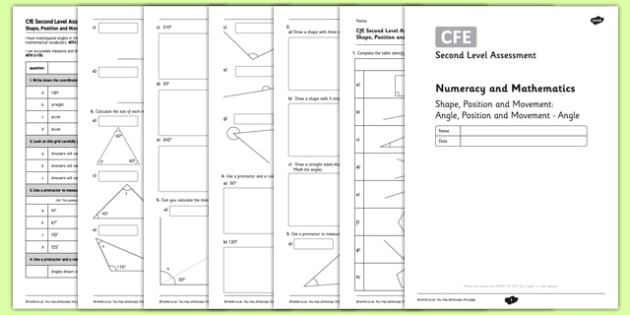 Second Level Assessment Numeracy and Mathematics - Shape - Angle, Position and Movement - Angle - CfE, assessment, angle, right, obtuse, acute, reflex, measure, protractor