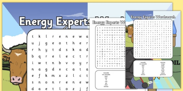 Energy Experts Wordsearch - science, energy experts, energy wordsearch