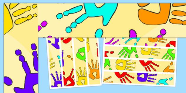 Handprint Themed Display Borders - handprint, display borders, display, borders