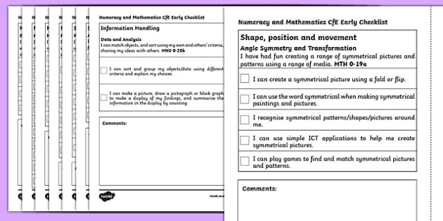 CfE Early Level  Numeracy and Mathematics Checklist