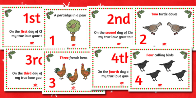 Twelve Days of Christmas Themed Visual Aids - christmas, visual aids
