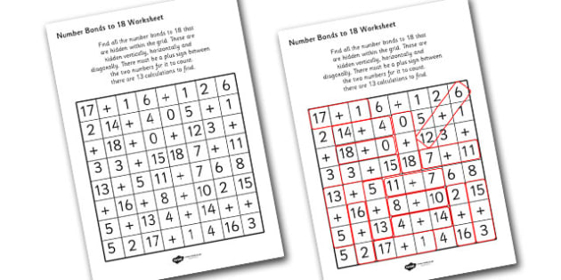 Number Bonds to 18 Wordsearch - numbers, bonds, wordsearch, game