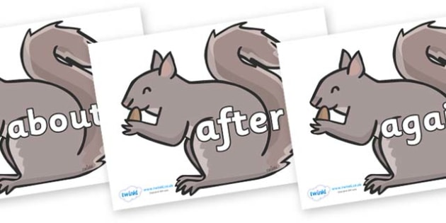 KS1 Keywords on Grey Squirrels - KS1, CLL, Communication language and literacy, Display, Key words, high frequency words, foundation stage literacy, DfES Letters and Sounds, Letters and Sounds, spelling