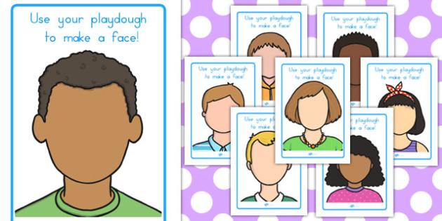 Faces Playdough Mats - faces, ourselves, fine motor skills, face
