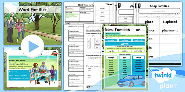 PlanIt Y3 SPaG Lesson Pack: Word Families - GPS, spelling, prefixes, suffixes, root