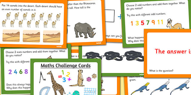 Safari Themed KS1 Maths Challenge Cards - maths, challenges