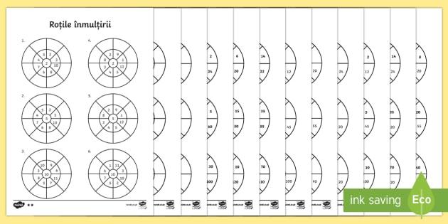 Roata înmulțirii cu 2, 5 și 10 -  Fișe de lucru - tabla înmulțirii, tabla inmultirii, matematica, romana, fise, exercitii de înmulțire, exercitii