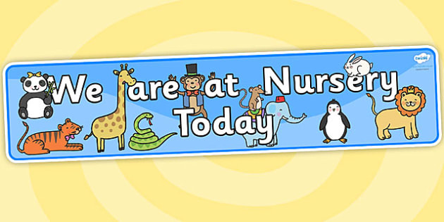 Self Registration Banner Animals Nursery - we are at nursery today banner, nursery banner, nursery display banner, nursery self registration banner