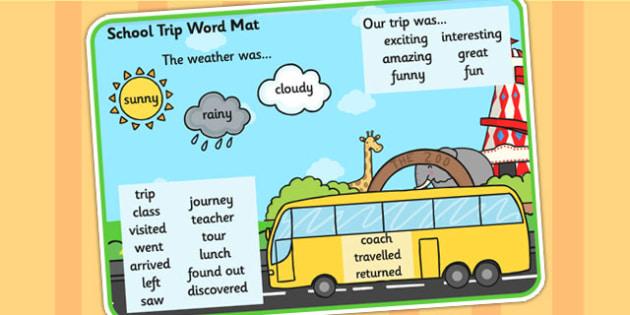 School Trip Word Mat - school trip, trip, days out, word mat, mat