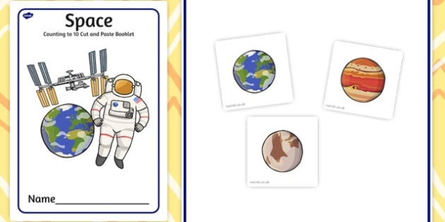 Space Counting to 10 Cut and Paste booklet - cutting, count