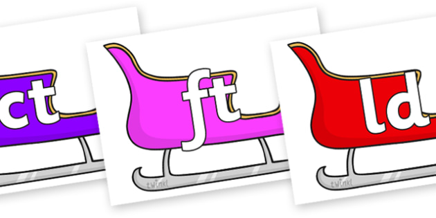 Final Letter Blends on Sleighs (Multicolour) - Final Letters, final letter, letter blend, letter blends, consonant, consonants, digraph, trigraph, literacy, alphabet, letters, foundation stage literacy