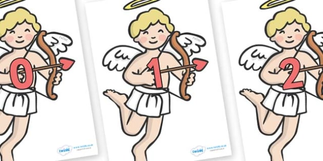 Numbers 0-50 on Cherubs - 0-50, foundation stage numeracy, Number recognition, Number flashcards, counting, number frieze, Display numbers, number posters
