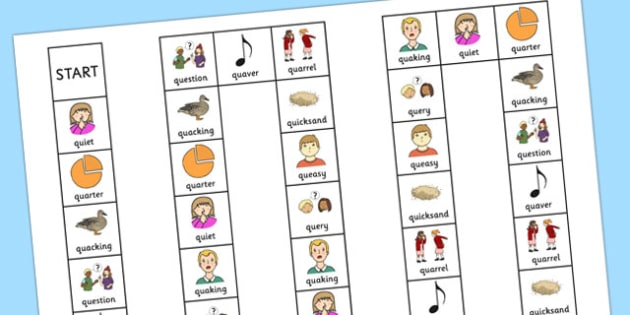 Two Syllable QU Board Game - speech sounds, phonology, articulation, speech therapy, cluster reduction