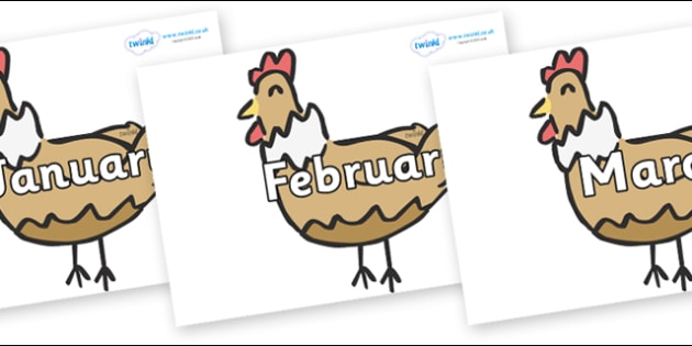 Months of the Year on French Hens - Months of the Year, Months poster, Months display, display, poster, frieze, Months, month, January, February, March, April, May, June, July, August, September