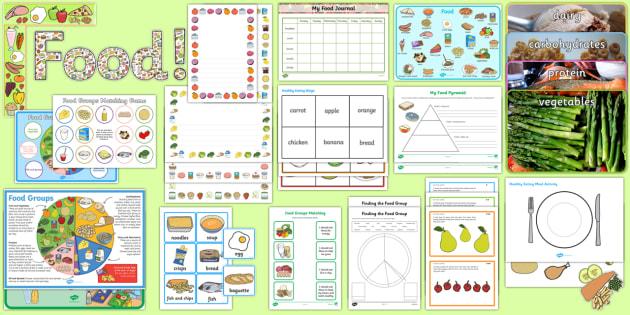 Food Resource Pack - Food, eating, healthy eating, healthy, unhealthy food, healthy lunchbox, food groups, display